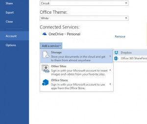 Adding dropbox as a service to office 365